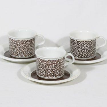 Arabia Faenza kahvikupit, Ruskeakukka, 3 kpl, suunnittelija Inkeri Seppälä, Ruskeakukka, serikuva, retro