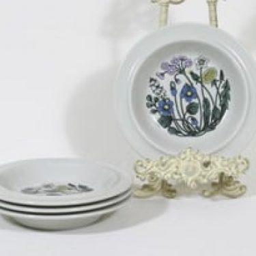 Arabia Flora lautaset, syvä, 4 kpl, suunnittelija Esteri Tomula, syvä, serikuva