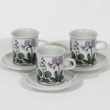 Arabia Flora kahvikupit, 3 kpl, suunnittelija Esteri Tomula, serikuva