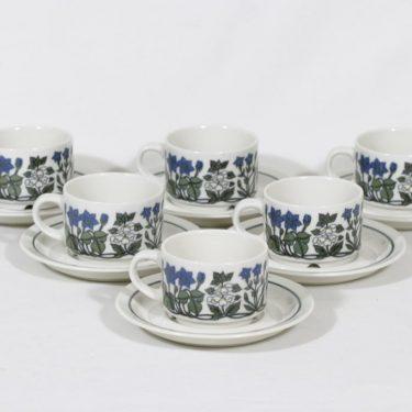 Arabia Flora kahvikupit, 6 kpl, suunnittelija Esteri Tomula, serikuva