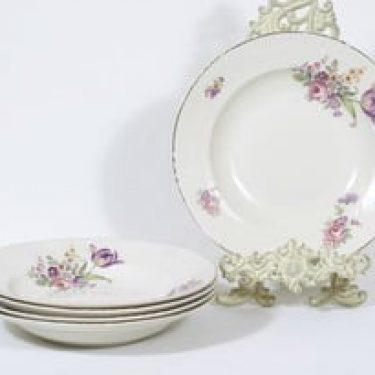 Arabia RE lautaset, kukkakuvio, 5 kpl, suunnittelija , kukkakuvio, siirtokuva