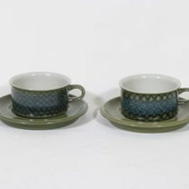 Arabia S 3 teekupit, 27 cl, 2 kpl, suunnittelija Hilkka-Liisa Ahola, 27 cl, käsinmaalattu, signeerattu, retro