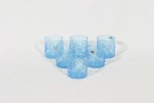 Nuutajärvi 1776 lasit, 10 cl, 6 kpl, suunnittelija Oiva Toikka, 10 cl, serikuva, retro