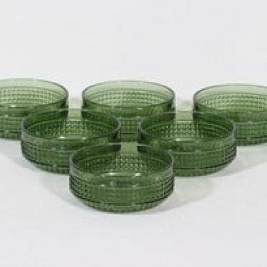 Riihimäen lasi Barokki annoskulhot, vihreä, 6 kpl, suunnittelija Erkkitapio Siiroinen,