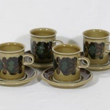 Arabia Otso kahvikupit, 4 kpl, suunnittelija Raija Uosikkinen, erikoiskoriste, retro