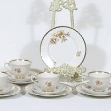 Arabia Myrna kahvikupit ja lautaset, 5 kpl, suunnittelija Olga Osol, serikuva