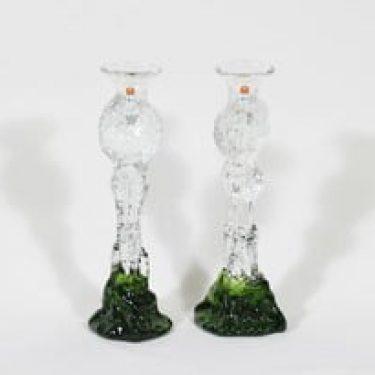 Humppila Kasvimaalla kynttilänjalat, kirkas|vihreä, 2 kpl, suunnittelija Pertti Santalahti, signeerattu, retro