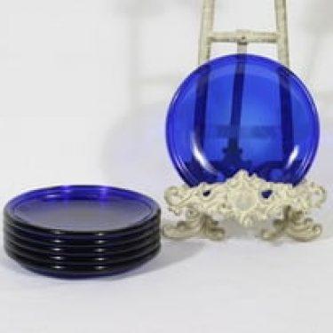 Nuutajärvi Luna lautaset, sininen, 6 kpl, suunnittelija Kaj Franck, pieni