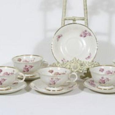 Arabia Regina teekupit, 5 kpl, suunnittelija Svea Granlund, siirtokuva