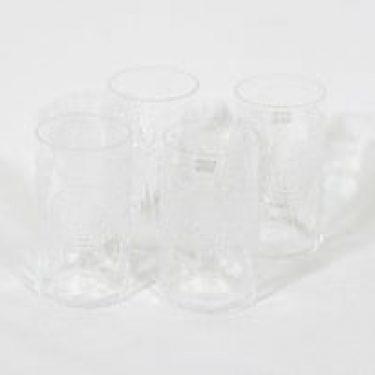 Nuutajärvi Flora lasit, kirkas, 4 kpl, suunnittelija Oiva Toikka,