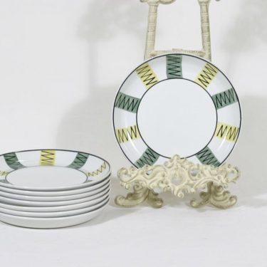 Arabia lautaset, käsinmaalattu, 8 kpl, suunnittelija , käsinmaalattu, pieni, signeerattu, tuntematon