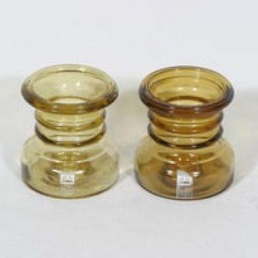 Riihimäen lasi Carmen kääntömaljakot, amber, 2 kpl, suunnittelija Tamara Aladin,