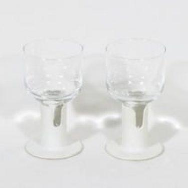 Iittala Kaveri lasit, kirkas, 2 kpl, suunnittelija Jorma Vennola, valkoinen muovijalka