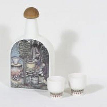 Arabia pontikkakarahvi ja lasit, 2 kpl, suunnittelija Andreas Alariesto, serikuva