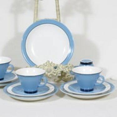 Arabia Harlekin Turkos kahvikupit ja lautaset, turkoosi, 4 kpl, suunnittelija ,