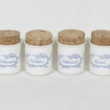 Arabia Sininen maustepurkit, 4 kpl, suunnittelija , painokoriste
