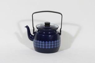 Finel Domino kahvipannu, sininen, suunnittelija Esteri Tomula, serikuva, retro