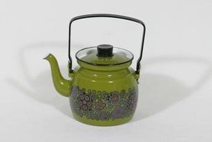 Finel Primavera kahvipannu, vihreä, suunnittelija Raija Uosikkinen, pieni, serikuva, retro