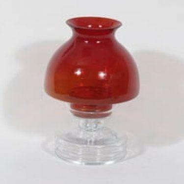 Riihimäen lasi Apollo kynttilälyhty, rubiininpunainen, suunnittelija Nanny Still,