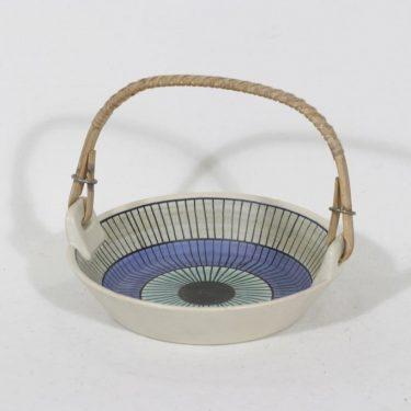 Kupittaan savi 213 keramiikkakori, käsinmaalattu, suunnittelija Laila Zink, käsinmaalattu, pieni, signeerattu