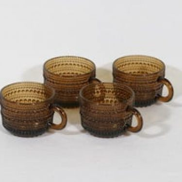 Nuutajärvi Kastehelmi kahvikupit, ruskea, 4 kpl, suunnittelija Oiva Toikka,