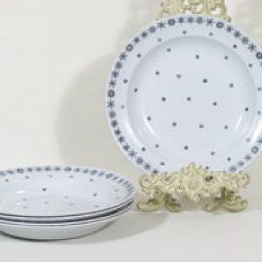 Arabia Snowflake lautaset, syvä, 5 kpl, suunnittelija Raija Uosikkinen, syvä, painokoriste
