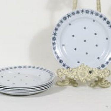 Arabia Snowflake lautaset, syvä, 6 kpl, suunnittelija Raija Uosikkinen, syvä, painokoriste, pieni