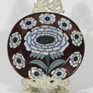 Arabia Fiori koristelautanen, signeerattu, suunnittelija Birger Kaipiainen, signeerattu, lysterilasite, helmikoristelu, numeroitu