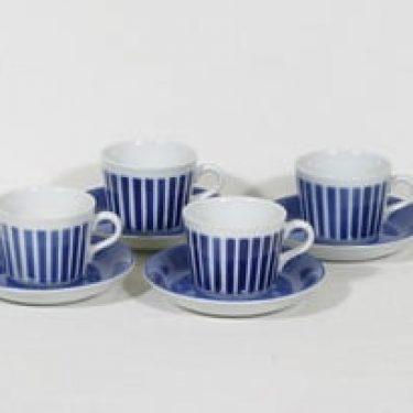 Arabia AA kahvikupit, sininen, 4 kpl, suunnittelija Kaj Franck, puhalluskoriste