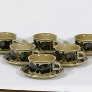 Arabia Otso teekupit, 6 kpl, suunnittelija Raija Uosikkinen, erikoiskoriste, retro
