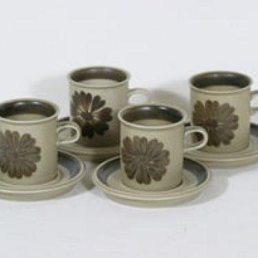 Arabia Tunturi kahvikupit, käsinmaalattu, 4 kpl, suunnittelija Olga Osol, käsinmaalattu, signeerattu, retro