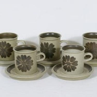 Arabia Tunturi kahvikupit, käsinmaalattu, 5 kpl, suunnittelija Olga Osol, käsinmaalattu, signeerattu, retro
