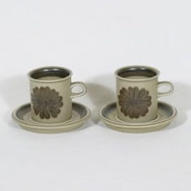Arabia Tunturi kahvikupit, käsinmaalattu, 2 kpl, suunnittelija Olga Osol, käsinmaalattu, signeerattu, retro