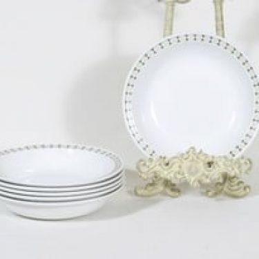 Arabia Seita lautaset, syvä, 6 kpl, suunnittelija Raija Uosikkinen, syvä, serikuva