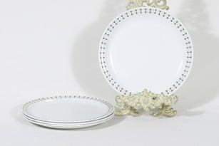Arabia Seita lautaset, matala, 4 kpl, suunnittelija Raija Uosikkinen, matala, serikuva