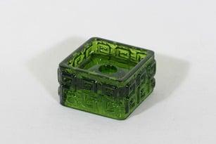 Riihimäen lasi Taalari kynttilänjalka, vihreä, suunnittelija Tamara Aladin, massiivinen
