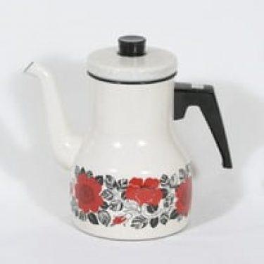 Finel Ruusu kahvipannu, suunnittelija Esteri Tomula, serikuva, emali