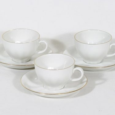 Arabia OZ coffee cups, golden edge, 3 pcs