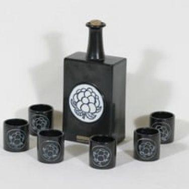 Arabia Lakka liköörikarahvi ja lasit, musta, 6 kpl, suunnittelija Olli Vasa,