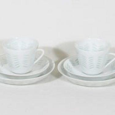 Arabia FK/65 kahvikupit ja lautaset, 15 cl, 2 kpl, suunnittelija Friedl Holzer-Kjellberg, 15 cl, massasigneerattu, riisiposliini