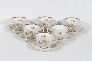 Arabia Myrna kahvikupit, 6 kpl, suunnittelija Olga Osol, serikuva