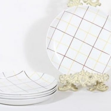 Arabia Verkko lautaset, matala, 5 kpl, suunnittelija Raija Uosikkinen, matala, käsinmaalattu, signeerattu