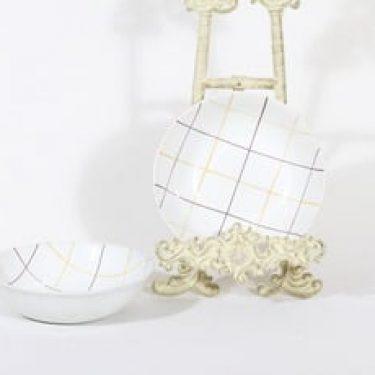 Arabia Verkko lautaset, syvä, 2 kpl, suunnittelija Raija Uosikkinen, syvä, käsinmaalattu, signeerattu