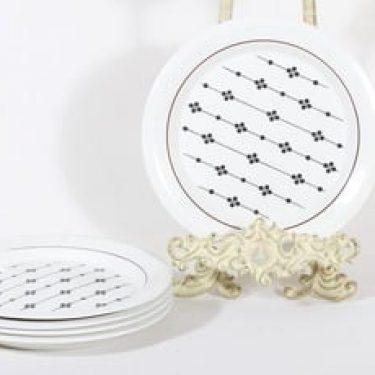 Arabia Kartano lautaset, 5 kpl, suunnittelija Esteri Tomula, painettu ja maalattu
