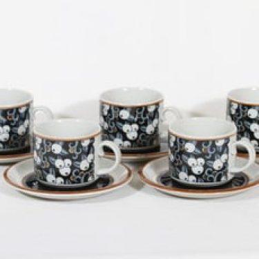 Arabia Taika teekupit, 5 kpl, suunnittelija Inkeri Seppälä, serikuva, retro