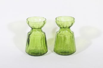 Riihimäen lasi Hyasintti maljakot, vihreä, 2 kpl, suunnittelija Tamara Aladin,