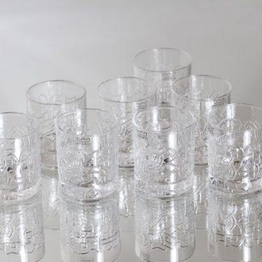 Arabia Relief lasit, 6 cl, 8 kpl, suunnittelija Heikki Orvola, 6 cl, pieni