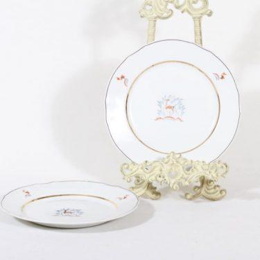 Arabia Kauris lautaset, pieni, 2 kpl, suunnittelija Tyra Lungren, pieni, siirtokuva, kultaraita