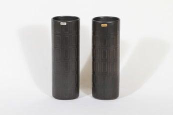 Arabia Oliivi maljakot, ruskea, 2 kpl, suunnittelija Olga Osol, funktionalismi