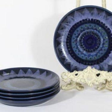 Arabia Kuutamo lautaset, käsinmaalattu, 5 kpl, suunnittelija Hilkka-Liisa Ahola, käsinmaalattu, pieni, signeerattu